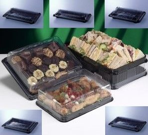 PACK OF 22 PLATTERS / FOOD TRAYS COMPLETE WITH CLEAR LIDS