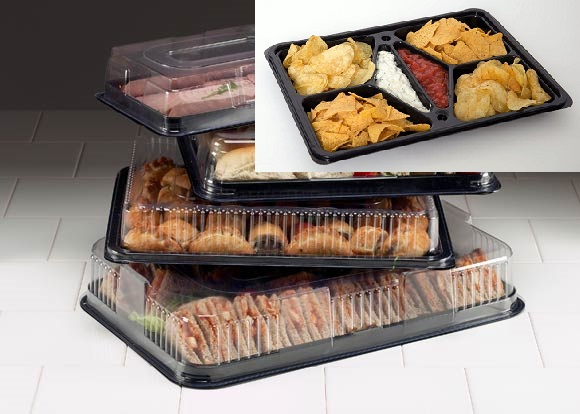 PACK OF 5 PLATTERS, ONE EACH OF LARGE, MEDIUM, SMALL, MINI AND A DIPPING PLATTER (ALL WITH LIDS)