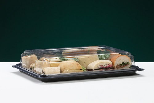 SMALL RECTANGULAR SANDWICH PLATTER COMPLETE WITH CLEAR LID