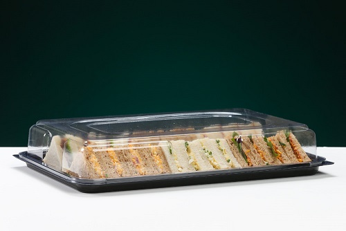 FIVE LARGE RECTANGULAR SANDWICH PLATTERS COMPLETE WITH CLEAR LIDS - FREE DELIVERY ! ! !