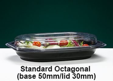 FIVE STANDARD OCTAGONAL PLATTERS COMPLETE WITH FIVE CLEAR LIDS - FREE DELIVERY ! ! !