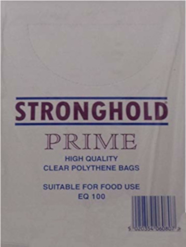 "CLEAR POLYTHENE BAGS 250mm wide x 300mm long (10""wide x 12""long approx.) thickness - 100 gauge (pack of 1,000) SUITABLE FOR FOOD USE"