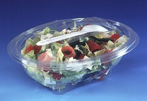 SALAD CONTAINERS WITH WHITE SPORKS - 370cc (pack of 25) Servipack