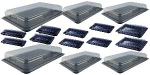 PACK OF 16 PLATTERS / FOOD TRAYS COMPLETE WITH CLEAR LIDS