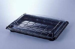SUSHI / FOOD TRAYS COMPLETE WITH CLEAR LIDS (pack of 5) Size 5