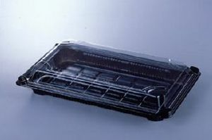 SUSHI / FOOD TRAYS COMPLETE WITH CLEAR LIDS (pack of 5) Size 3